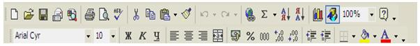 Панель инструментов Excel